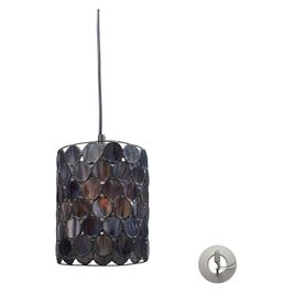 72001-1-LA Transitional Cirque 1 Light Pendant In Matte Black And Tiffany Glass - Includes Recessed Lighting Kit