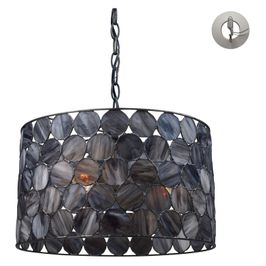 72003-3-LA Transitional Cirque 3 Light Pendant In Matte Black And Tiffany Glass - Includes Recessed Lighting Kit