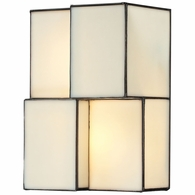 72060-2 ELK Lighting Cubist 2-Light Sconce in Brushed Nickel with White Tiffany Glass