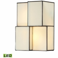 72060-2-LED ELK Lighting Cubist 2-Light Sconce in Brushed Nickel with White Tiffany Glass - Includes LED Bulbs