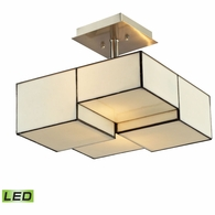 72061-2-LED ELK Lighting Cubist 2-Light Semi Flush in Brushed Nickel with White Tiffany Glass - Includes LED Bulbs