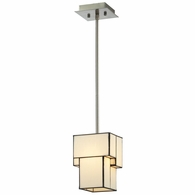 72062-1 ELK Lighting Cubist 1-Light Mini Pendant in Brushed Nickel with White Tiffany Glass