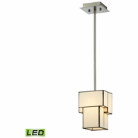72062-1-LED ELK Lighting Cubist 1-Light Mini Pendant in Brushed Nickel with White Tiffany Glass - Includes LED Bulb