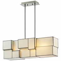 72063-4 ELK Lighting Cubist 4-Light Chandelier in Brushed Nickel with White Tiffany Glass
