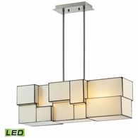 72063-4-LED ELK Lighting Cubist 4-Light Chandelier in Brushed Nickel with White Tiffany Glass - Includes LED Bulbs