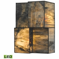 72070-2-LED ELK Lighting Cubist 2-Light Sconce in Brushed Nickel with Dusk Sky Tiffany Glass - Includes LED Bulbs