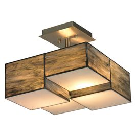 72071-2 ELK Lighting Cubist 2-Light Semi Flush in Brushed Nickel with Dusk Sky Tiffany Glass