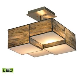 72071-2-LED ELK Lighting Cubist 2-Light Semi Flush in Brushed Nickel with Dusk Sky Tiffany Glass - Includes LED Bulbs