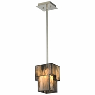 72072-1 ELK Lighting Cubist 1-Light Mini Pendant in Brushed Nickel with White Tiffany Glass