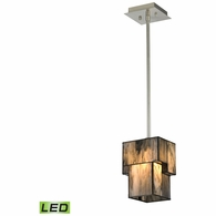 72072-1-LED ELK Lighting Cubist 1-Light Mini Pendant in Brushed Nickel with White Tiffany Glass - Includes LED Bulb