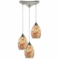 73011-3 ELK Lighting Avalon 3-Light Triangular Pendant Fixture in Satin Nickel with Multi-colored Crackle Glass