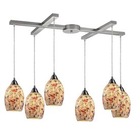 73011-6 ELK Lighting Avalon 6-Light H-Bar Pendant Fixture in Satin Nickel with Multi-colored Crackle Glass