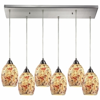 73011-6RC ELK Lighting Avalon 6-Light Rectangular Pendant Fixture in Satin Nickel with Multi-colored Crackle Glass