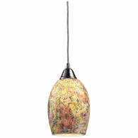 73021-1 ELK Lighting Avalon 1-Light Mini Pendant in Satin Nickel with Multi-colored Crackle Glass