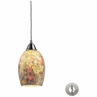 73021-1-LA ELK Lighting Avalon 1-Light Mini Pendant in Satin Nickel with Multi-colored Crackle Glass - Includes Adapter Kit