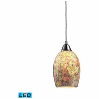 73021-1-LED ELK Lighting Avalon 1-Light Mini Pendant in Satin Nickel with Multi-colored Crackle Glass - Includes LED Bulb