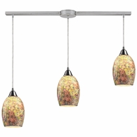 73021-3L ELK Lighting Avalon 3-Light Linear Pendant Fixture in Satin Nickel with Multi-colored Crackle Glass