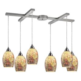 73021-6 ELK Lighting Avalon 6-Light H-Bar Pendant Fixture in Satin Nickel with Multi-colored Crackle Glass