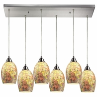 73021-6RC ELK Lighting Avalon 6-Light Rectangular Pendant Fixture in Satin Nickel with Multi-colored Crackle Glass