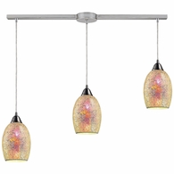 73041-3L ELK Lighting Avalon 3-Light Linear Pendant Fixture in Satin Nickel with Multi-colored Crackle Glass