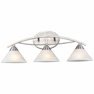 7632/3 ELK Lighting Elysburg 3-Light Vanity Lamp in Satin Nickel with White Swirl Glass