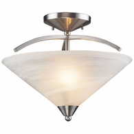 7633/2 ELK Lighting Elysburg 2-Light Semi Flush in Satin Nickel with White Swirl Glass