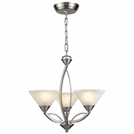 7635/3 ELK Lighting Elysburg 3-Light Chandelier in Satin Nickel with White Swirl Glass