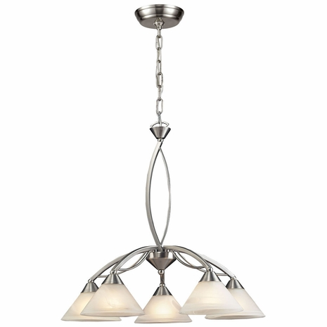 7636/5 ELK Lighting Elysburg 5-Light Chandelier in Satin Nickel with White Swirl Glass