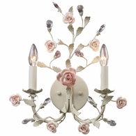 8090/2 ELK Lighting Heritage 2-Light Wall Lamp in Cream with Porcelain Roses and Crystal