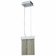 85111/LED ELK Lighting Meadowland 1-Light Mini Pendant in Satin Aluminum and Chrome with Textured Glass - Integrated LED