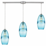 85241/3L ELK Lighting Melvin 3-Light Linear Mini Pendant Fixture in Satin Nickel with Aqua Fused Glass with Blue Accent