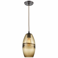 85251/1 ELK Lighting Melvin 1-Light Mini Pendant in Oil Rubbed Bronze with Earth Brown Fused Glass and Dark Brown Accent