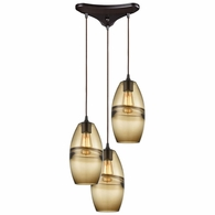 85251/3 ELK Lighting Melvin 3-Light Triangular Mini Pendant Fixture in Oil Rubbed Bronze with Earth Brown Fused Glass