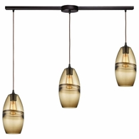 85251/3L ELK Lighting Melvin 3-Light Linear Mini Pendant Fixture in Oil Rubbed Bronze with Earth Brown Fused Glass