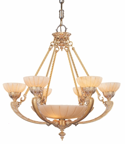 895-WH Crystorama Natural Alabaster Ornate Cast Brass Chandelier