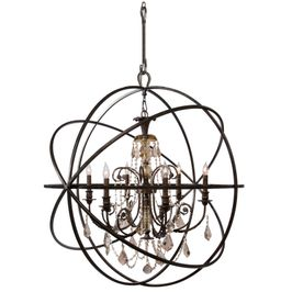 9219-EB-GT-MWP Crystorama Solaris Chandelier - Hand-Painted Wrought Iron Sphere - Golden Teak Hand-Cut Crystals