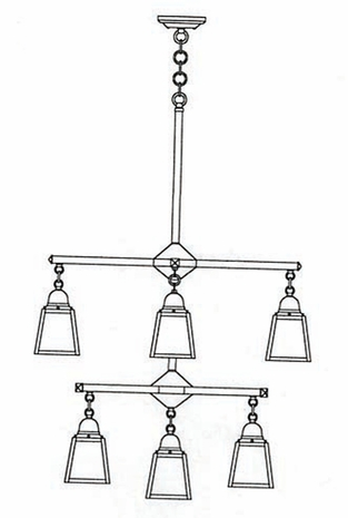 ACH-4-4-1 Arroyo Craftsman A-Line Shade Two-Tier Chandelier with Center Light