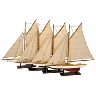 AS057A Authentic Models Mini Pond Yachts, Set of 4