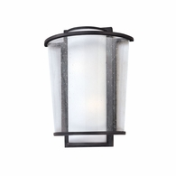 B1351FBZ Troy Hand-Worked Iron Interior/Exterior Bennington 2Lt Wall Sconce Small with Forged Bronze Finish