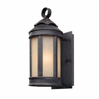 B1460AI Troy Hand-Worked Iron Exterior Andersons Forge 1Lt Wall Lantern Small with Antique Iron Finish