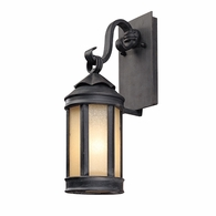 B1461AI Troy Hand-Worked Iron Exterior Andersons Forge 1Lt Wall Lantern Small with Antique Iron Finish