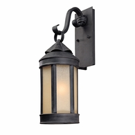 B1462AI Troy Hand-Worked Iron Exterior Andersons Forge 1Lt Wall Lantern Medium with Antique Iron Finish
