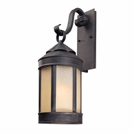 B1463AI Troy Hand-Worked Iron Exterior Andersons Forge 1Lt Wall Lantern Large with Antique Iron Finish