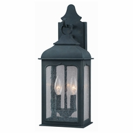 B2011CI Troy Hand-Worked Iron Exterior Henry Street 2Lt Wall Lantern Small with Colonial Iron Finish