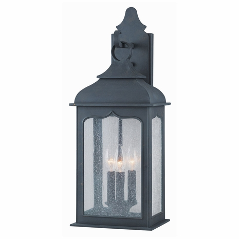 B2012CI Troy Hand-Worked Iron Exterior Henry Street 3Lt Wall Lantern Medium with Colonial Iron Finish