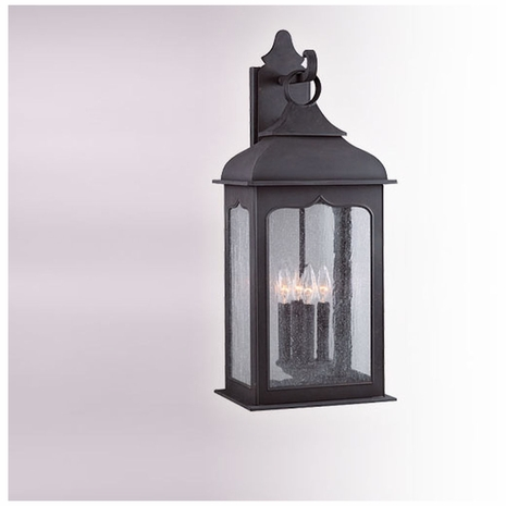 B2013CI Troy Hand-Worked Iron Exterior Henry Street 4Lt Wall Lantern Large with Colonial Iron Finish