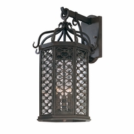 B2373OI Troy Hand-Worked Iron Exterior Los Olivos 3Lt Wall Lantern Medium with Old Iron Finish