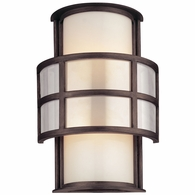 B2732 Troy Hand-Worked Iron Interior/Exterior Discus 2Lt Wall Sconce Medium with Graphite Finish