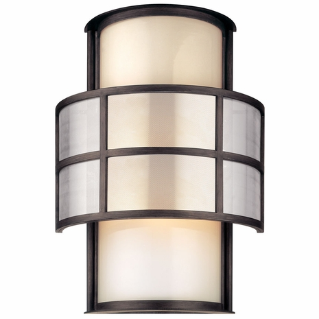 B2733 Troy Hand-Worked Iron Exterior Discus 2Lt Wall Lantern Large with Graphite Finish