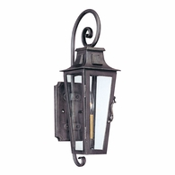 B2961 Troy Hand-Forged Iron Exterior Parisian Square 1Lt Wall Lantern Small with Aged Pewter Finish